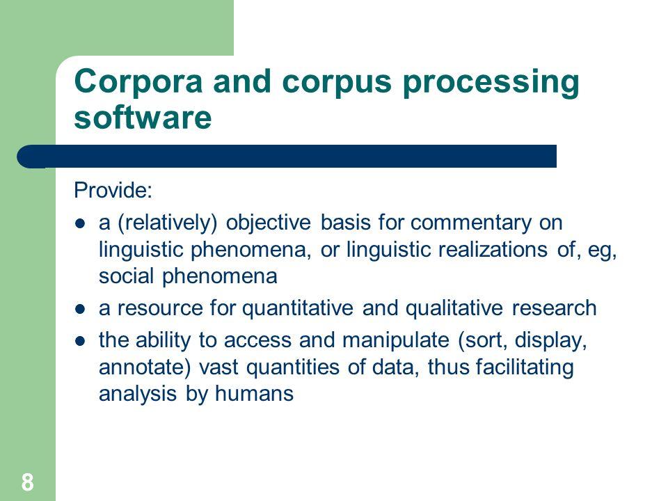 7 Well-known monolingual corpora British National Corpus (100m words) – http://www.natcorp.ox.ac.uk/ http://www.natcorp.ox.ac.uk/ The Bank of English
