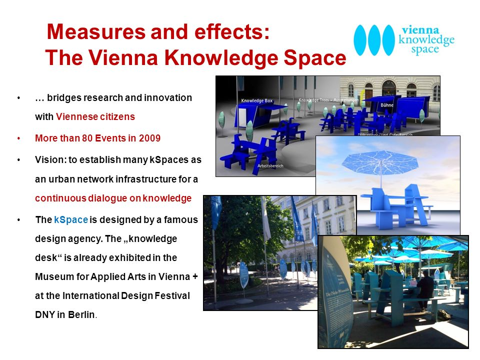 Measures and effects: The Vienna Knowledge Space … bridges research and innovation with Viennese citizens More than 80 Events in 2009 Vision: to estab