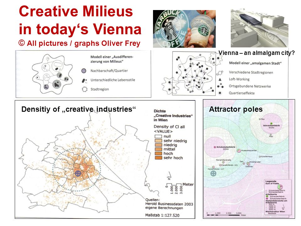Creative Milieus in todays Vienna © All pictures / graphs Oliver Frey Vienna – an almalgam city? Densitiy of creative industriesAttractor poles