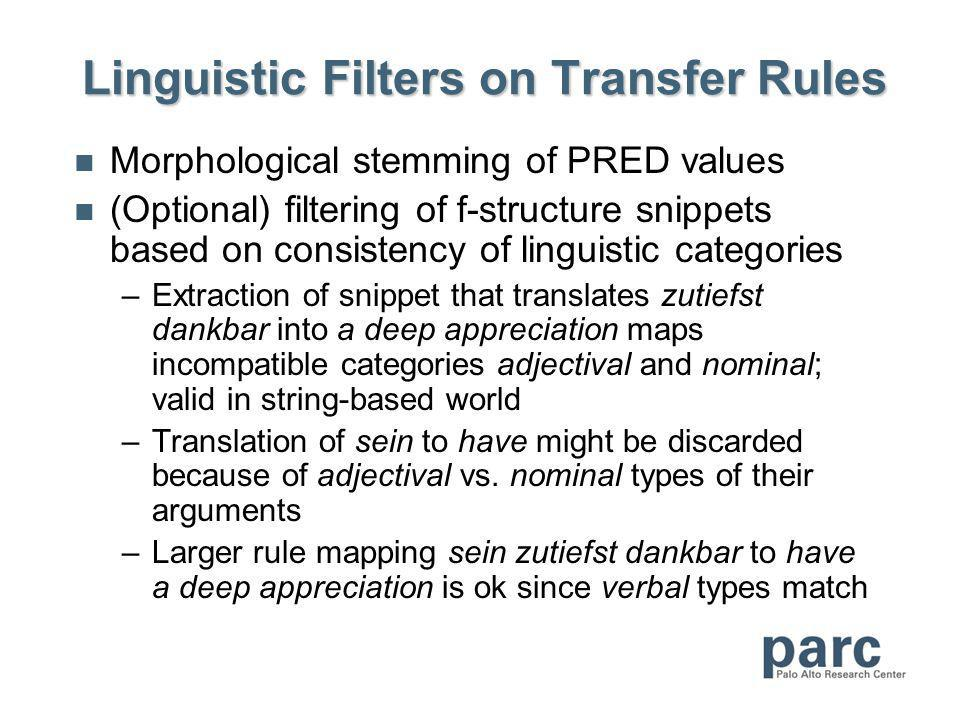 Linguistic Filters on Transfer Rules Morphological stemming of PRED values (Optional) filtering of f-structure snippets based on consistency of linguistic categories –Extraction of snippet that translates zutiefst dankbar into a deep appreciation maps incompatible categories adjectival and nominal; valid in string-based world –Translation of sein to have might be discarded because of adjectival vs.