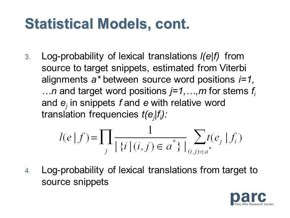 Statistical Models, cont. 3.
