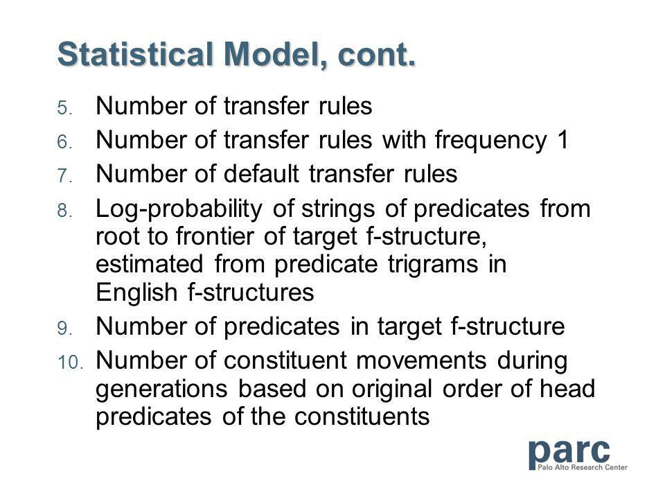 Statistical Model, cont. 5. Number of transfer rules 6.