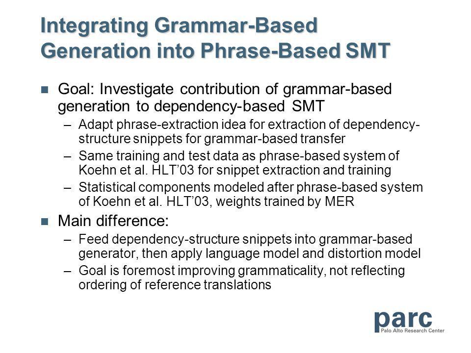 Integrating Grammar-Based Generation into Phrase-Based SMT Goal: Investigate contribution of grammar-based generation to dependency-based SMT –Adapt phrase-extraction idea for extraction of dependency- structure snippets for grammar-based transfer –Same training and test data as phrase-based system of Koehn et al.