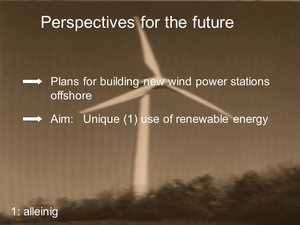 Perspectives for the future Plans for building new wind power stations offshore Aim:Unique (1) use of renewable energy 1: alleinig