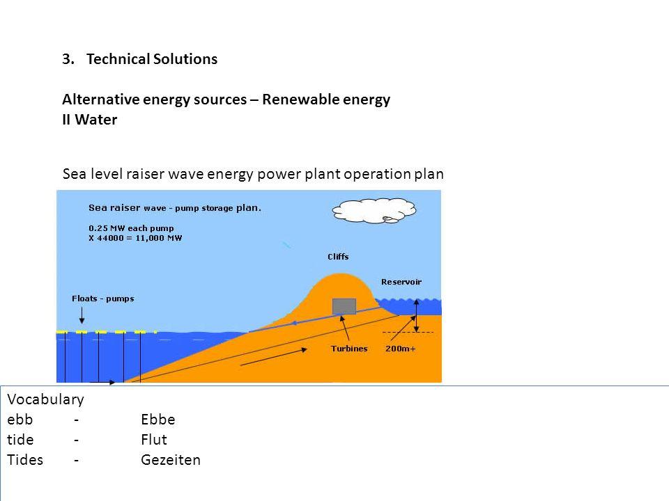 3. Technical Solutions Alternative energy sources – Renewable energy II Water Sea level raiser wave energy power plant operation plan Vocabulary ebb-E