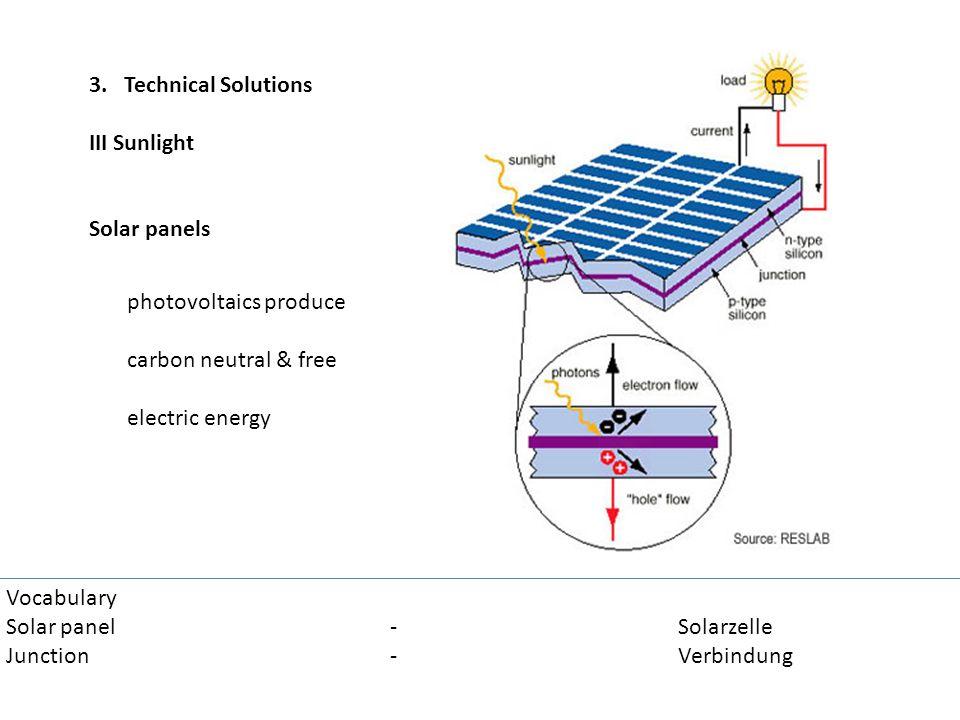 3. Technical Solutions III Sunlight Solar panels Vocabulary Solar panel-Solarzelle Junction-Verbindung photovoltaics produce carbon neutral & free ele