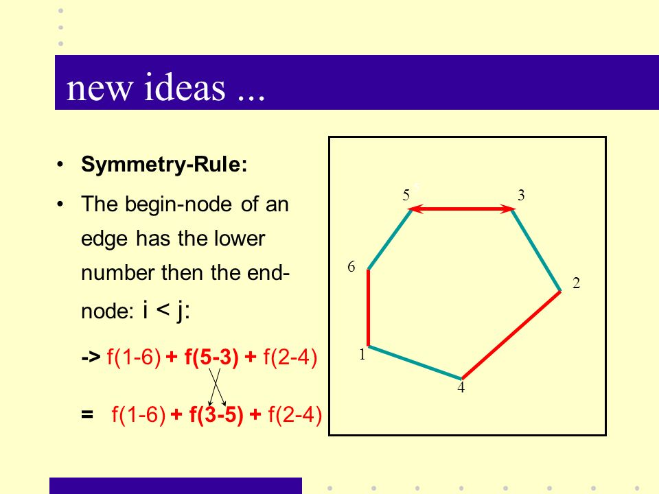 new ideas... 5 5 2 1 4 3 6 Symmetry-Rule: The begin-node of an edge has the lower number then the end- node: i < j: -> f(1-6) + f(5-3) + f(2-4) = f(1-