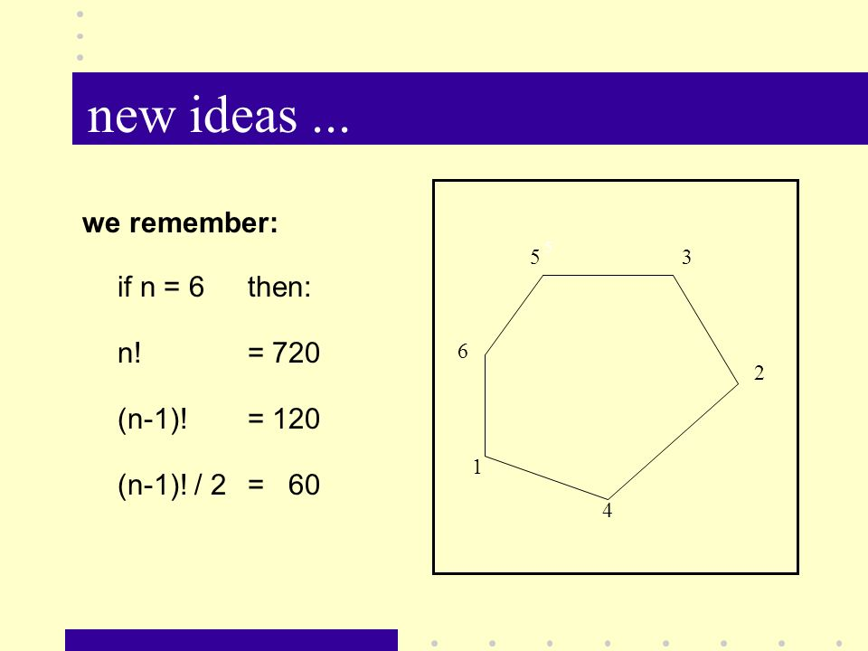 new ideas... we remember: if n = 6then: n! = 720 (n-1)! = 120 (n-1)! / 2= 60 5 5 2 1 4 3 6