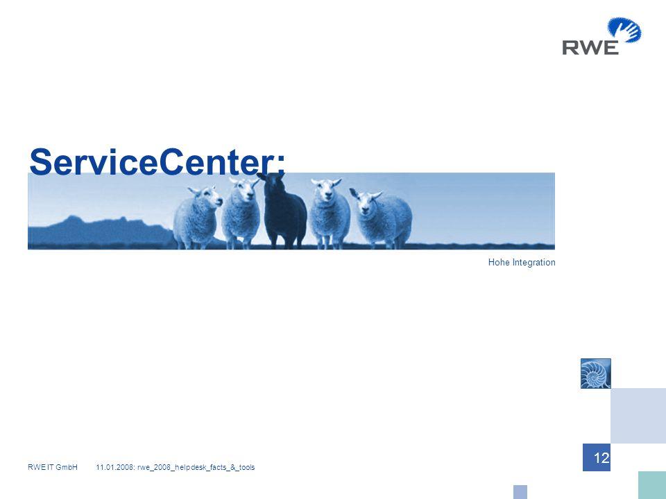 RWE IT GmbH 11.01.2008: rwe_2008_helpdesk_facts_&_tools 12 ServiceCenter: Hohe Integration