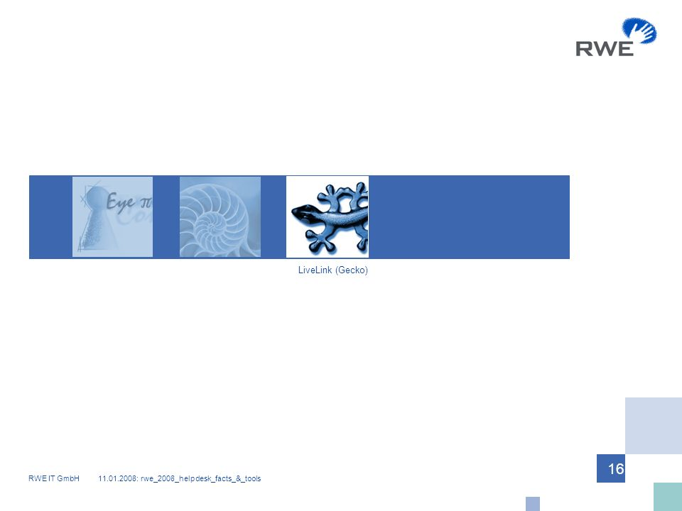 RWE IT GmbH 11.01.2008: rwe_2008_helpdesk_facts_&_tools 16 LiveLink (Gecko)