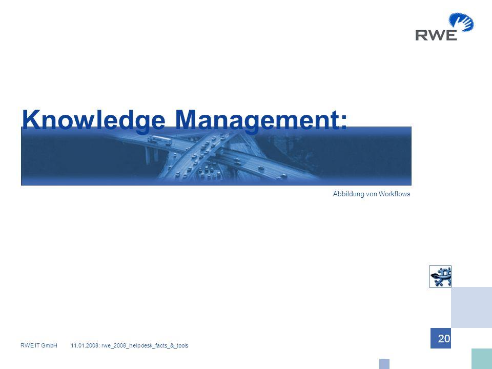 RWE IT GmbH 11.01.2008: rwe_2008_helpdesk_facts_&_tools 20 Knowledge Management: Abbildung von Workflows