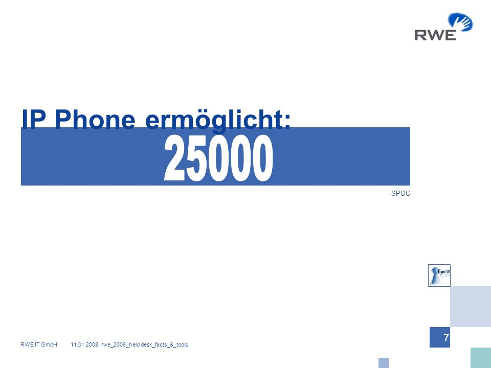RWE IT GmbH 11.01.2008: rwe_2008_helpdesk_facts_&_tools 7 IP Phone ermöglicht: SPOC