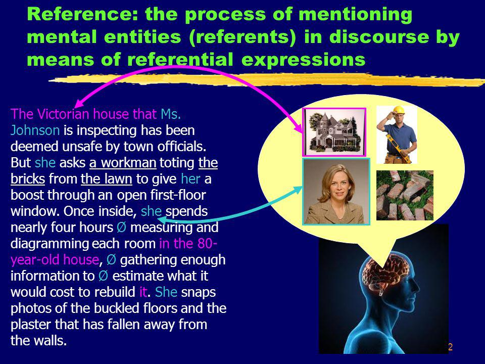 12 Reference: the process of mentioning mental entities (referents) in discourse by means of referential expressions The Victorian house that Ms.