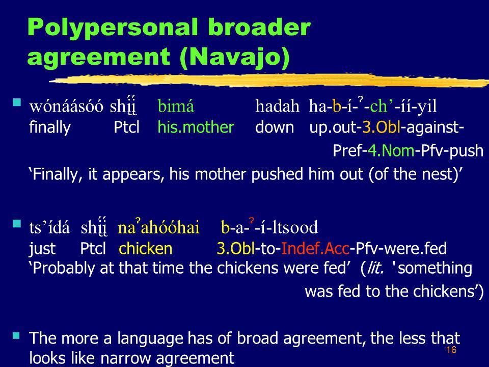 16 Polypersonal broader agreement (Navajo) wónáásóó shį́į́ bimáhadah ha-b-í- ˀ -ch-íí-yil finally Ptclhis.motherdown up.out-3.Obl-against- Pref-4.Nom-Pfv-push Finally, it appears, his mother pushed him out (of the nest) tsídá shį́į́ na ˀ ahóóhai b-a- ˀ -í-ltsood just Ptcl chicken 3.Obl-to-Indef.Acc-Pfv-were.fed Probably at that time the chickens were fed (lit.