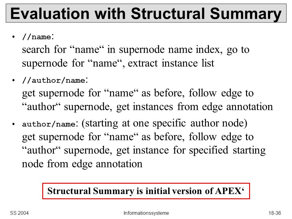SS 2004Informationssysteme18-36 Evaluation with Structural Summary //name : search for name in supernode name index, go to supernode for name, extract instance list //author/name : get supernode for name as before, follow edge to author supernode, get instances from edge annotation author/name : (starting at one specific author node) get supernode for name as before, follow edge to author supernode, get instance for specified starting node from edge annotation Structural Summary is initial version of APEX