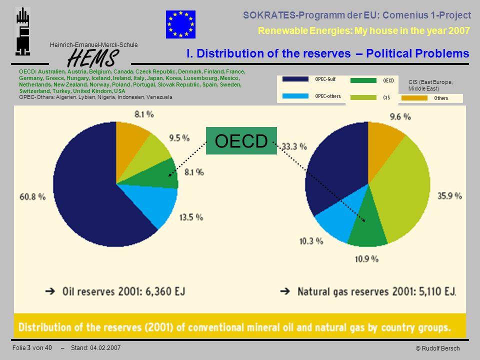 Folie 3 von 40 – Stand: 04.02.2007 HEMS Renewable Energies: My house in the year 2007 Heinrich-Emanuel-Merck-Schule SOKRATES-Programm der EU: Comenius