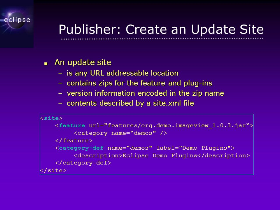 Publisher: Create an Update Site An update site An update site –is any URL addressable location –contains zips for the feature and plug-ins –version information encoded in the zip name –contents described by a site.xml file Eclipse Demo Plugins