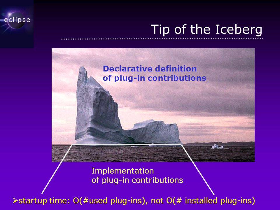 Tip of the Iceberg Implementation of plug-in contributions Declarative definition of plug-in contributions startup time: O(#used plug-ins), not O(# installed plug-ins)
