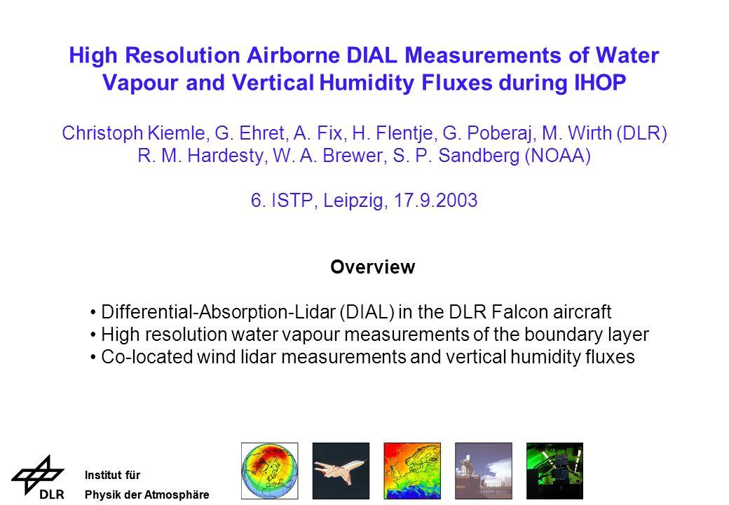 Institut für Physik der Atmosphäre Estimation of Latent Heat Flux Profile by Eddy Correlation Flux F = wq q = q - q statistical error (solid): σ 2 F, instr.