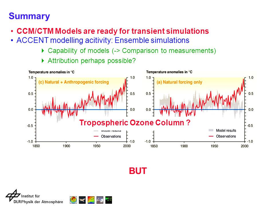 Institut für Physik der Atmosphäre Summary CCM/CTM Models are ready for transient simulations ACCENT modelling acitivity: Ensemble simulations Capabil