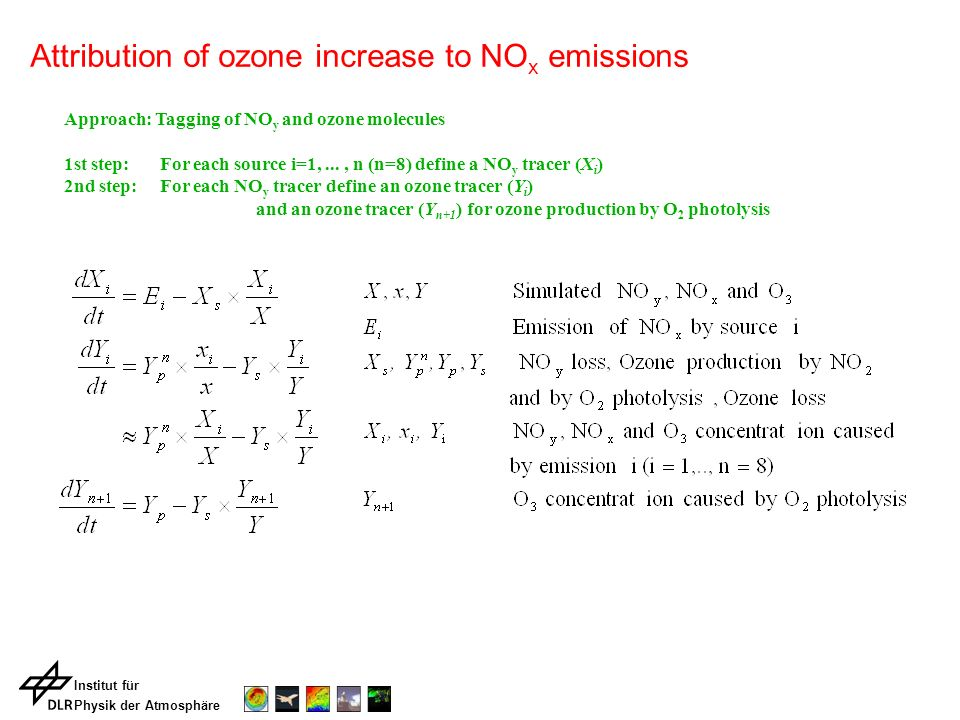 Institut für Physik der Atmosphäre Approach: Tagging of NO y and ozone molecules 1st step: For each source i=1,..., n (n=8) define a NO y tracer (X i