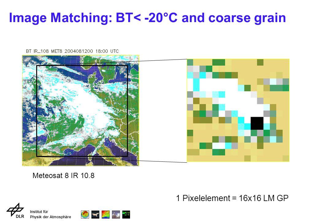 Institut für Physik der Atmosphäre Image Matching: BT< -20°C and coarse grain Meteosat 8 IR 10.8 1 Pixelelement = 16x16 LM GP