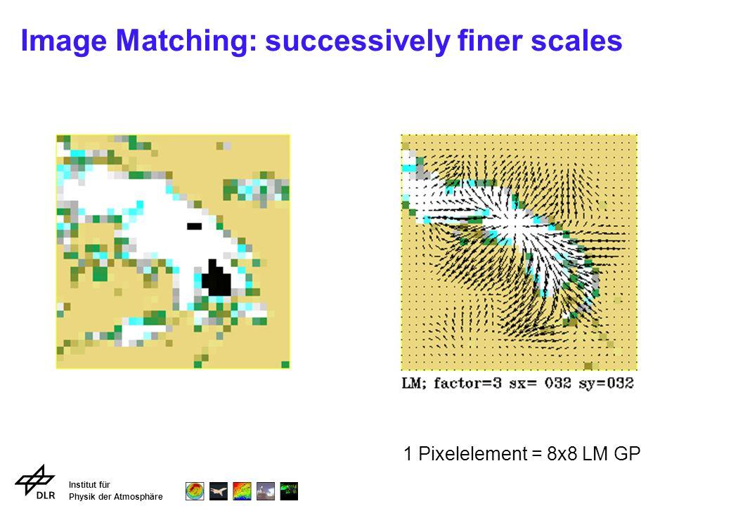 Institut für Physik der Atmosphäre Image Matching: successively finer scales 1 Pixelelement = 8x8 LM GP