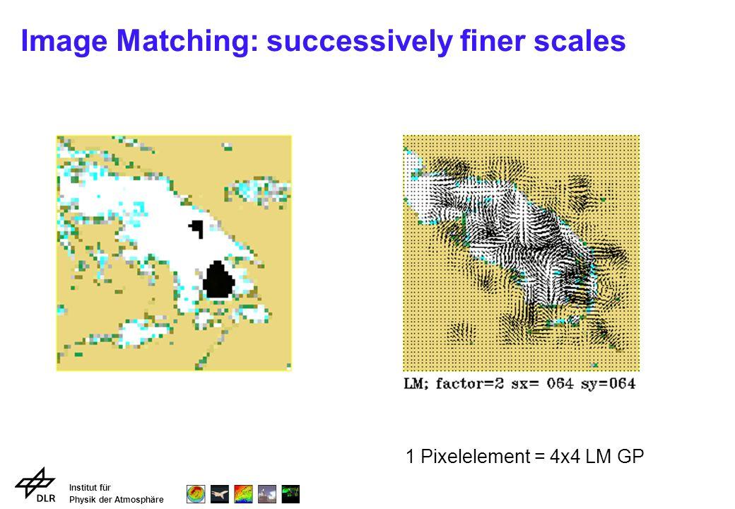 Institut für Physik der Atmosphäre Image Matching: successively finer scales 1 Pixelelement = 4x4 LM GP