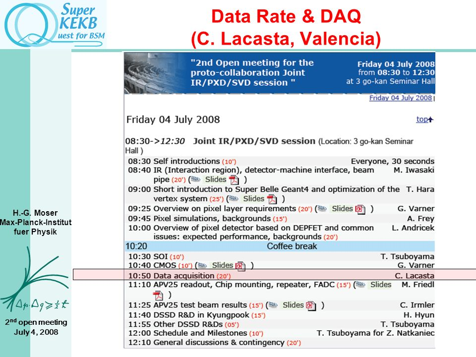 H.-G. Moser Max-Planck-Institut fuer Physik 2 nd open meeting July 4, 2008 Data Rate & DAQ (C.