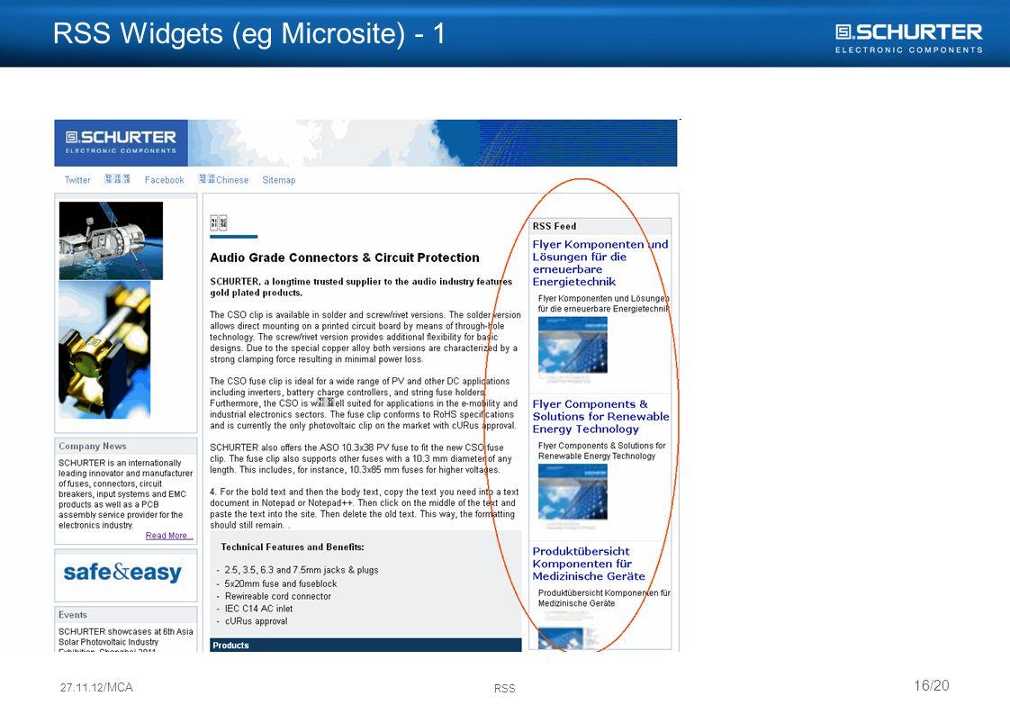 27.11.12 /MCA RSS 16/20 RSS Widgets (eg Microsite) - 1