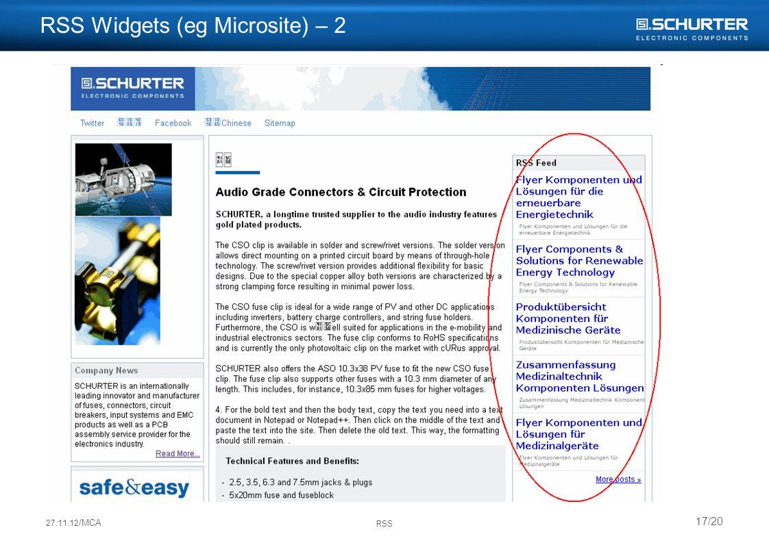 27.11.12 /MCA RSS 17/20 RSS Widgets (eg Microsite) – 2