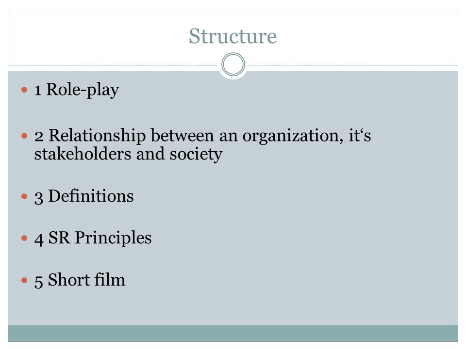 Structure 1 Role-play 2 Relationship between an organization, its stakeholders and society 3 Definitions 4 SR Principles 5 Short film