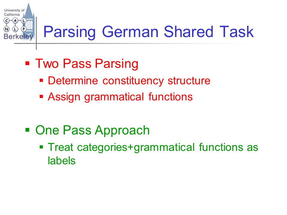 Parsing German Shared Task Two Pass Parsing Determine constituency structure Assign grammatical functions One Pass Approach Treat categories+grammatic