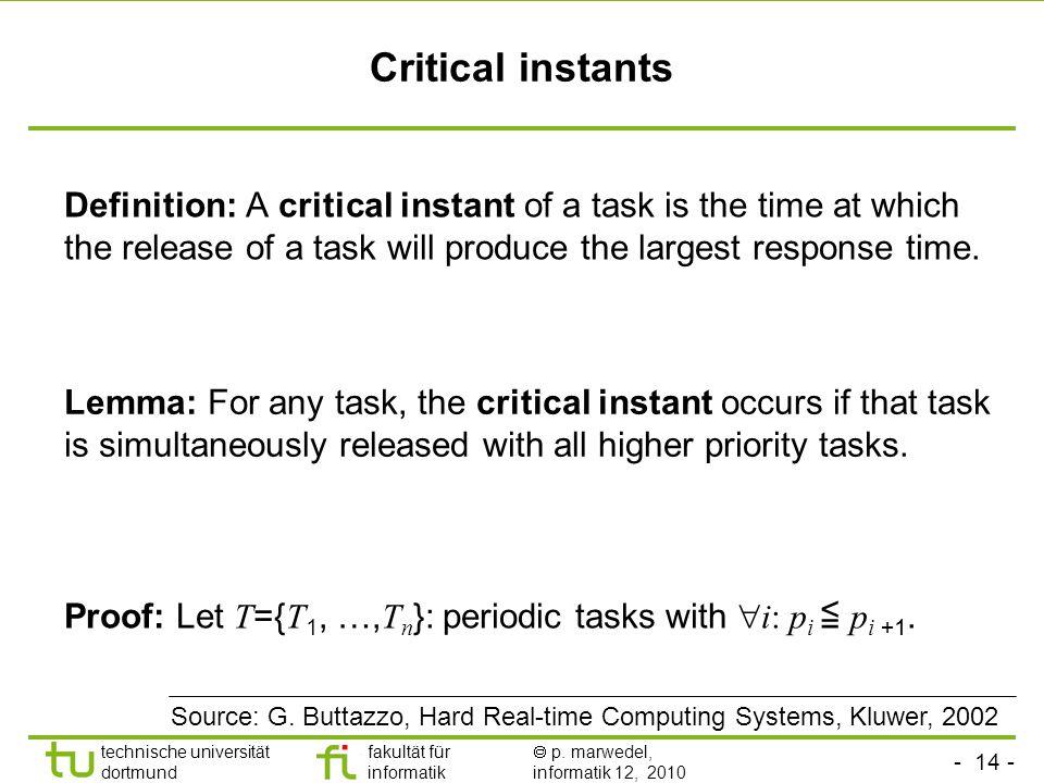 - 14 - technische universität dortmund fakultät für informatik p. marwedel, informatik 12, 2010 Critical instants Definition: A critical instant of a