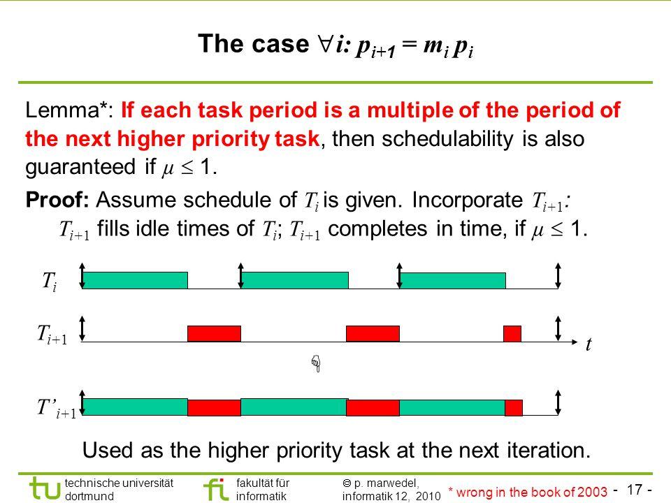 - 17 - technische universität dortmund fakultät für informatik p. marwedel, informatik 12, 2010 The case i: p i+ 1 = m i p i Lemma*: If each task peri