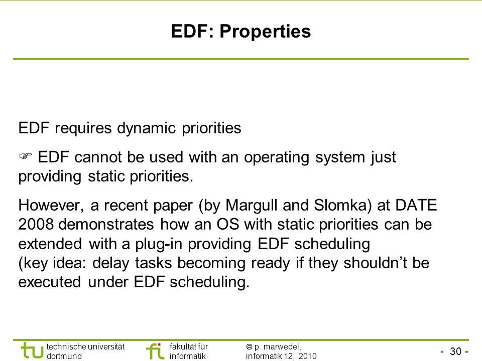 - 30 - technische universität dortmund fakultät für informatik p. marwedel, informatik 12, 2010 EDF: Properties EDF requires dynamic priorities EDF ca