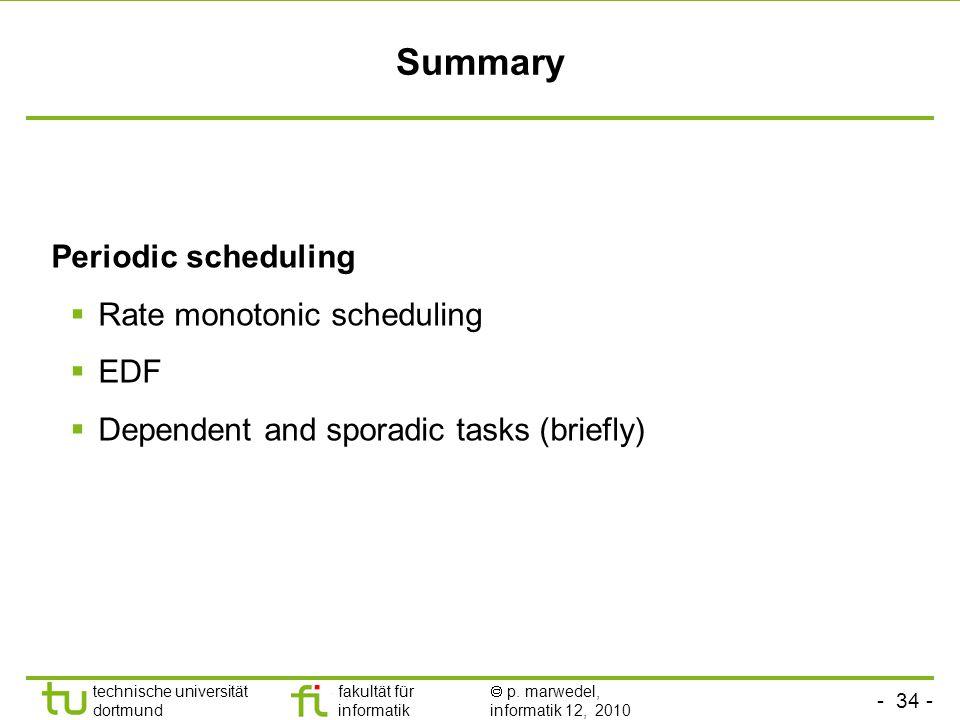 - 34 - technische universität dortmund fakultät für informatik p. marwedel, informatik 12, 2010 Summary Periodic scheduling Rate monotonic scheduling