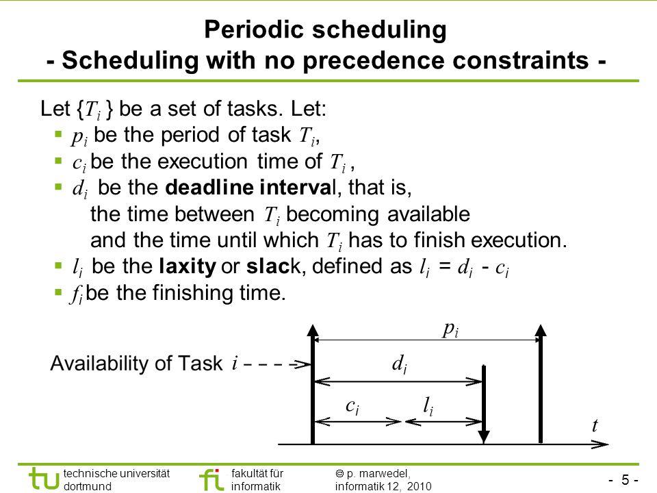 - 5 - technische universität dortmund fakultät für informatik p. marwedel, informatik 12, 2010 Periodic scheduling - Scheduling with no precedence con