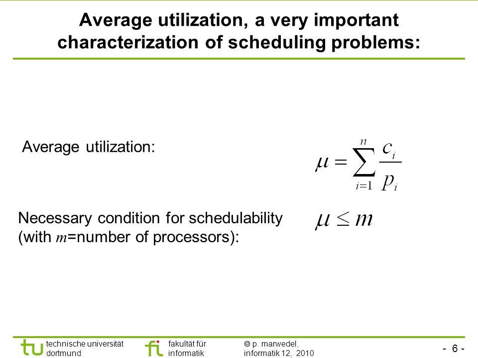 - 6 - technische universität dortmund fakultät für informatik p. marwedel, informatik 12, 2010 Average utilization, a very important characterization