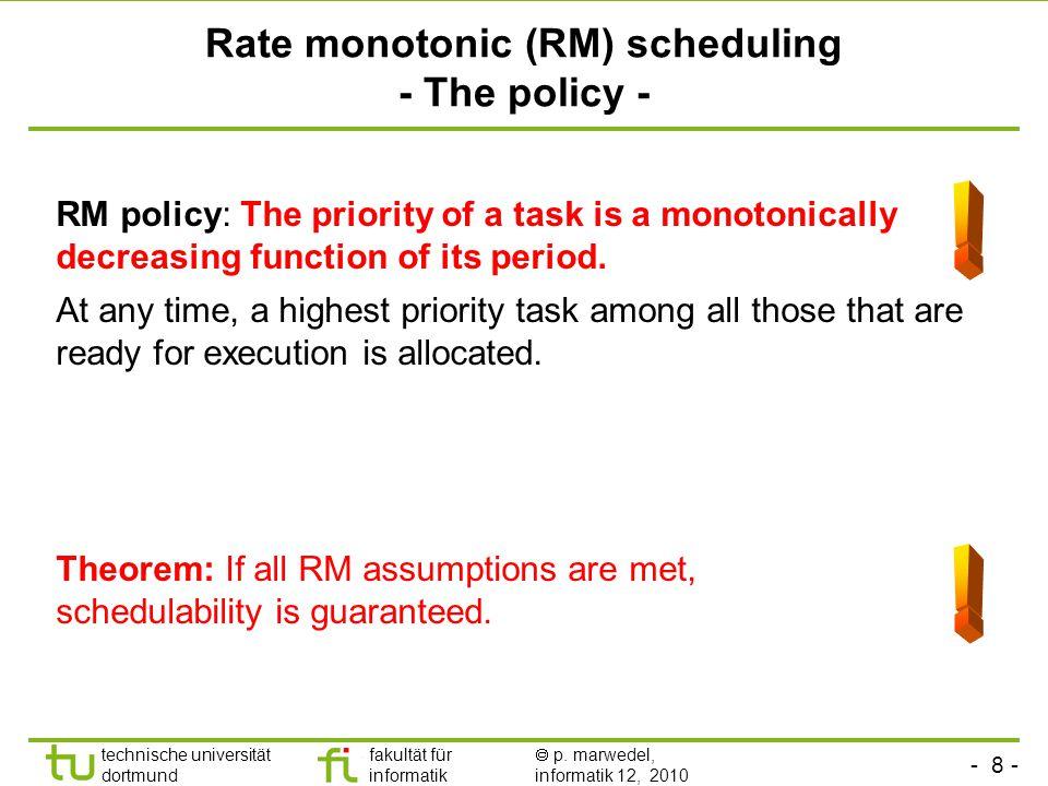 - 8 - technische universität dortmund fakultät für informatik p. marwedel, informatik 12, 2010 Rate monotonic (RM) scheduling - The policy - RM policy