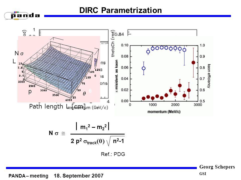 Georg Schepers GSI DIRC Parametrization pθ θ θ p p p θ p N m 1 2 – m 2 2 2 p 2 track n 2 -1 Ref.: PDG Path length L [cm] pθ p L produzierte Photonen θ p p N photon θ p p θ p N PANDA – meeting 18.