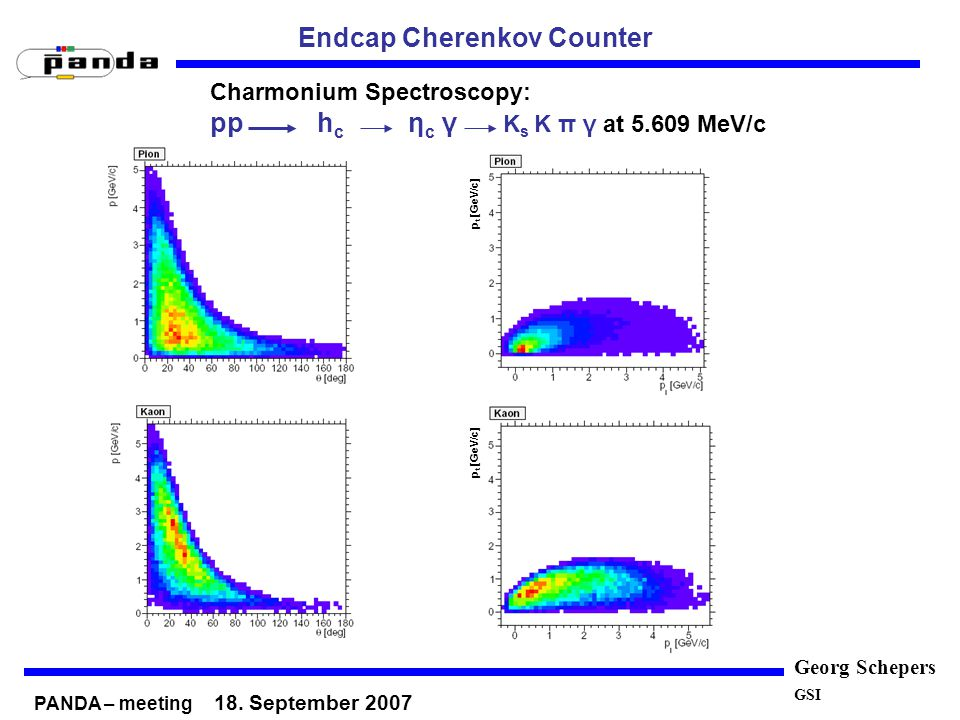 Georg Schepers GSI Endcap Cherenkov Counter PANDA – meeting 18. September 2007 Charmonium Spectroscopy: pp h c η c γ K s K π γ at 5.609 MeV/c p t [GeV