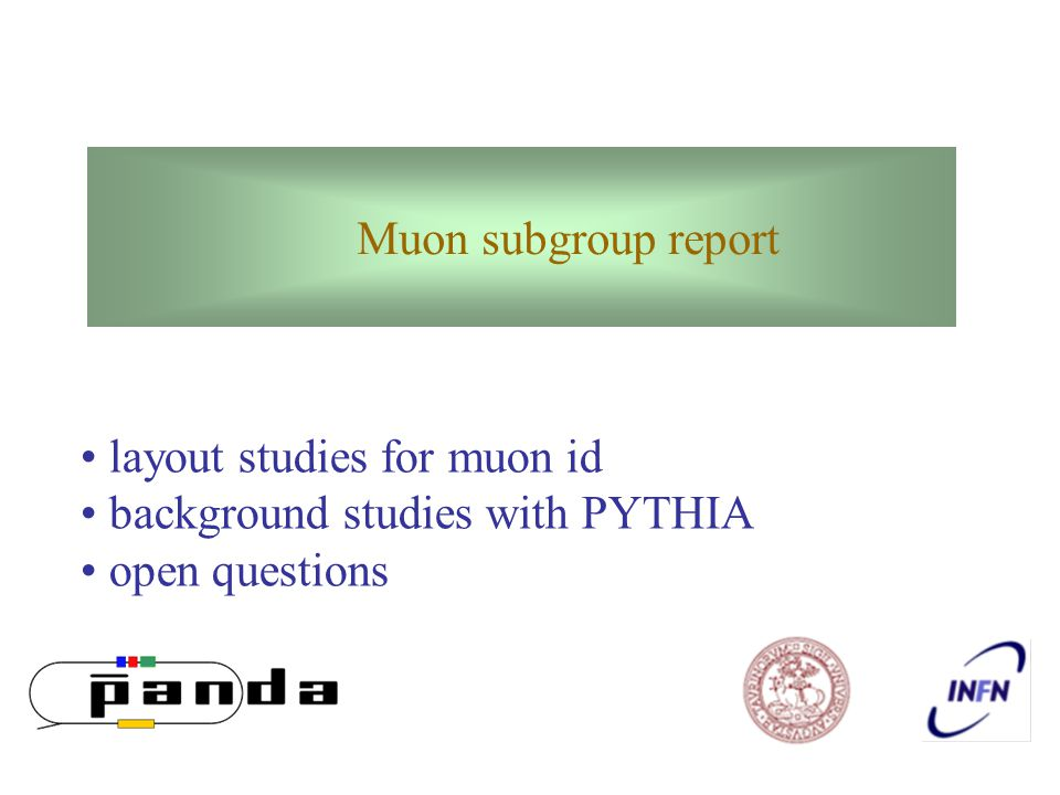 layout studies for muon id background studies with PYTHIA open questions Muon subgroup report