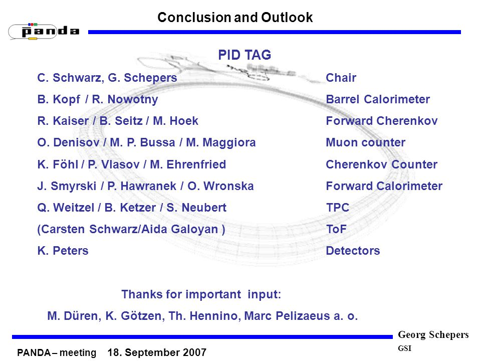 Georg Schepers GSI Conclusion and Outlook PID TAG C.