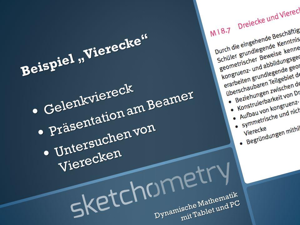 Beispiel Vierecke Gelenkviereck Gelenkviereck Präsentation am Beamer Präsentation am Beamer Untersuchen von Vierecken Untersuchen von Vierecken Dynamische Mathematik mit Tablet und PC