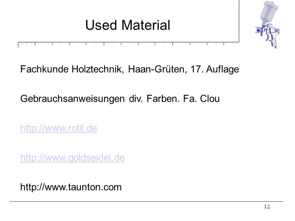 12 Used Material Fachkunde Holztechnik, Haan-Grüten, 17. Auflage Gebrauchsanweisungen div. Farben. Fa. Clou http://www.rotil.de http://www.goldseidel.