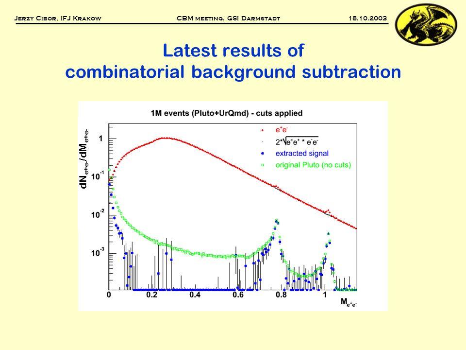 Latest results of combinatorial background subtraction Jerzy Cibor, IFJ Krakow CBM meeting, GSI Darmstadt 18.10.2003 dN e+e- /dM e+e-