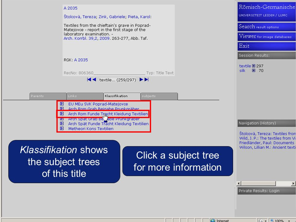 Klassifikation shows the subject trees of this title Click a subject tree for more information