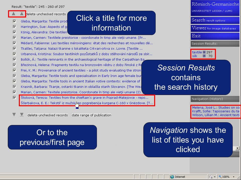 Or to the previous/first page Navigation shows the list of titles you have clicked Session Results contains the search history Click a title for more information