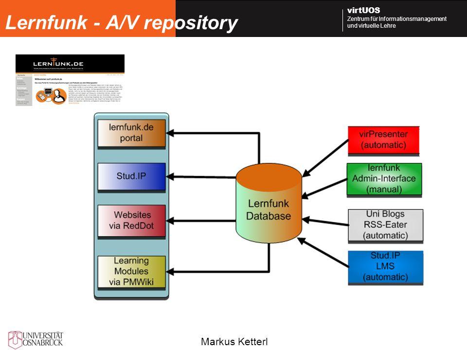 Markus Ketterl virtUOS Zentrum für Informationsmanagement und virtuelle Lehre Lernfunk - A/V repository